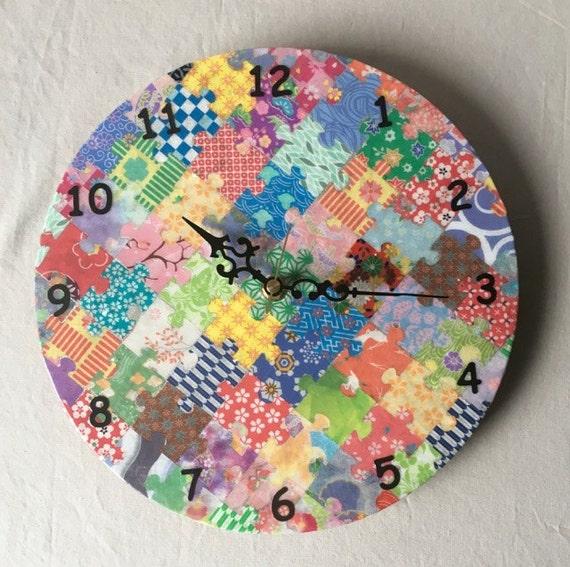 Puzzle Piece Clock, Wall Clock, Decorative Clock, Clock, Timepiece, Wall Timepiece, Colorful Clock, Father's Day, Anniversary Gift