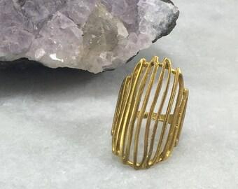Brass Statement Ring   Adjustable   R11609