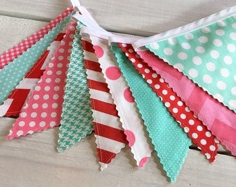 Banner Bunting, Fabric Flags, Baby Shower, Birthday Banner, Girl Nursery Decor, Photography Prop - Red, Mint Green, Pink, Chevron, Dots