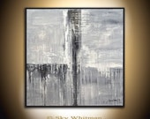 Textured Palette Knife Abstract Painting Original High Gloss Framed Square Acrylic Painting Glossy Modern Gray Black and White Abstract Art