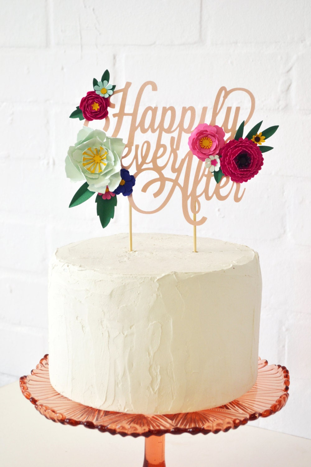 Cake Toppers With Flowers : Handmade  Happily Ever After  Paper Flower Cake Topper