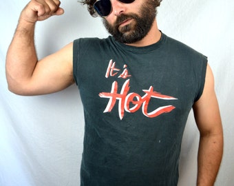 Vintage 80s Black Muscle Tee Shirt - It's Hot