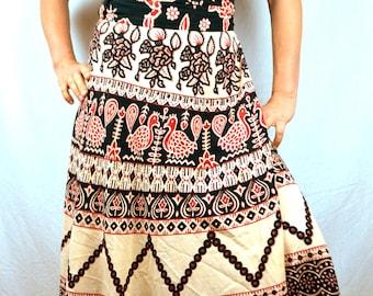 Vintage 80s 90s Hippie Wrap Maxi Around Skirt