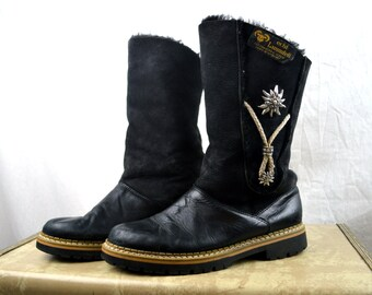Vintage WOW Vintage Black Real Sheepskin Leather Shearling Tall Winter Boots - Made in Germany