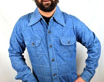Vintage 80s Patchwork Denim Button Up Shirt - Vanderbilt