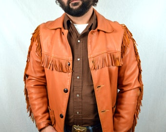Vintage Western Suede Leather Mexican Fringe Coat