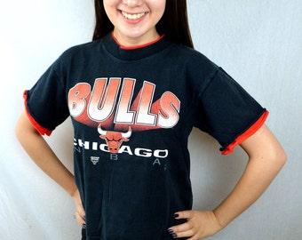 Vintage 90s NBA Chicago Bulls Tee Shirt Tshirt - XS