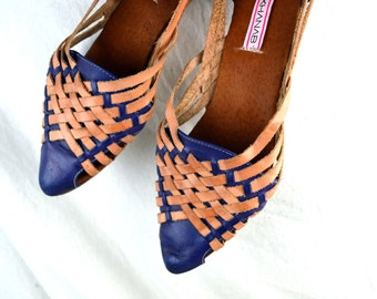 Cute Vintage 80s Leather Woven Huaraches Sandals - Size 11