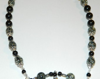 Elegant Black and Silver Glass Bead Necklace