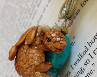 Gold Dragon Hugging a Turquoise Dyed Howlite Nugget with Swarovski Crystals Pendant Necklace - Hand Sculpted, OOAK