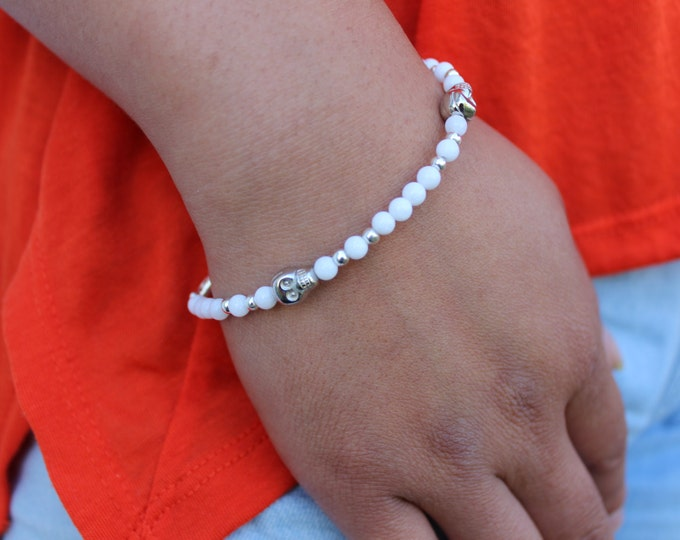 Tiny White and Silver Skull Bracelet