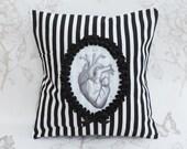 Anatomic heart  pillow  cushion stripes