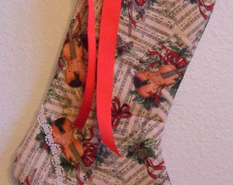 Vintage Shabby Chic Christmas stocking music violin