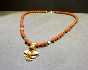 Flying Fish Necklace, red jasper, gold plated, sanded, ethno, replica, columbia, tribal, protection, gift, birthday