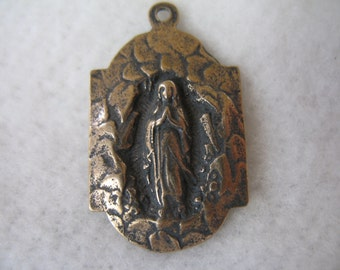 Religious Medal Mary in The Grotto Lourdes France Bronze Religious Medals Religious Jewelry Supplies French Religious B1160LS