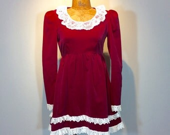 Vintage 60's Deep Red Velvet Lace Ruffled Lolita Babydoll Micro Mini Dress