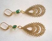 Vintage Jewelry Green Crystal Dangle Earrings