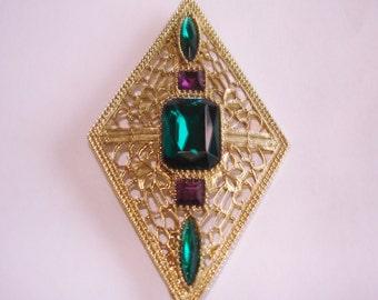 Green Amethyst Gold Tone Filigree  Brooch