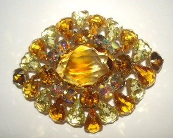 Topaz Glass Faceted Stones Brooch .