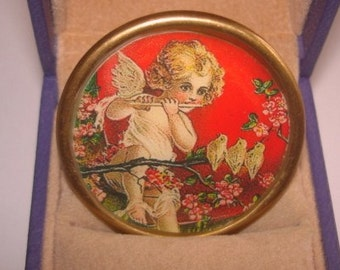 Bird Angel Child Flute Player Flower Brooch KL Design