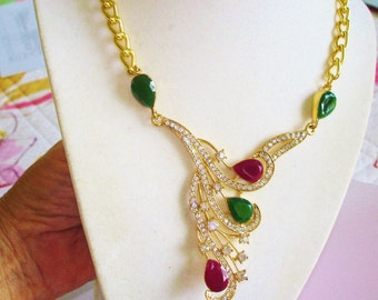 Multi Color  Rhinestone Pendant  Necklace Gold Tone