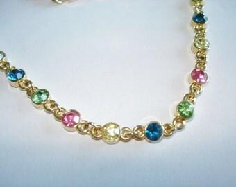 Ruby Peridot  Rhinestone  Necklace