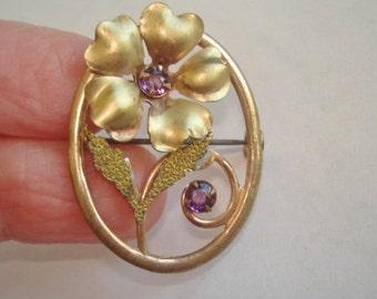 Amethyst Rhinestone Gold Tone Flower Vintage Jewelry Brooch