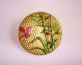 Dragonfly Sea Grass Pink Rhinestone Jewelry  Gold Tone
