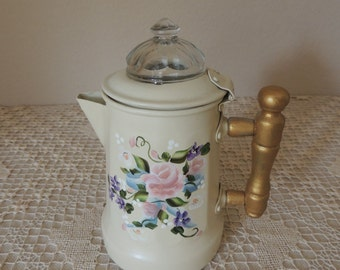 Petite Painted Flowers Coffee Pot. Tiny Gold Painted Handle & Creme French Country Hand Painted Floral Percolator. Creative Cash Gift Tin