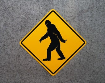 "BIGFOOT CROSSING Road Sign / 16"" X 16"" ALUMINUM Sasquatch - Yeti"
