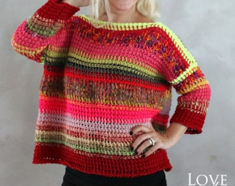 Hand Knitted Pink Neon Yellow Red Sweater Handmade Pullover Colorful Striped Sweater Winter Sweater One of a kind Knit Sweater