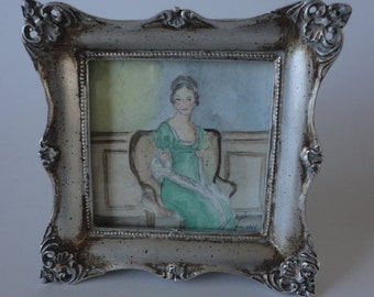 Not Handsome Enough to Tempt Me.  Original Miniature Watercolor.  Pride and Prejudice.  Framed.  Jane Austen Art.