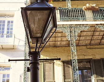 "New Orleans Art ""Orleans Street Lamp"" Photograph, Affordable Print. Mardi Gras. French Quarter Photography, Black"