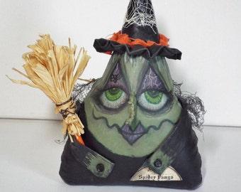 Halloween Witch Doll Wanda Web Handmade OOAK Primitive Folk Art Hag