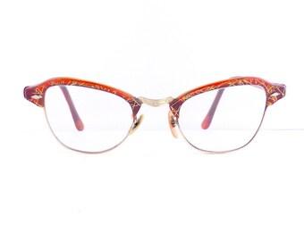 Brow Line Cats Cateye Eyeglasses Frames Women's Vintage 1950's Rare Orange Colour with Gold 12K GF #M308 DIVINE