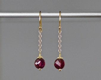 Rhodolite Garnet Earrings - Wire Wrapped Garnet Gemstone Earrings - Red and Gold Dangle Earrings - January Birthstone - Gift for Her