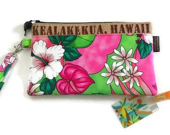 MTO. Custom. Aloha Wristlet with Fabric of your Preference. Repurposed Coffee Bag. Kealakekua, Hawaii. Handmade in Hawaii.