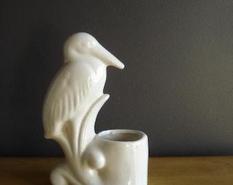 Stork Planter - Vintage Pale Blue Pottery - Pelican or Stork Planter