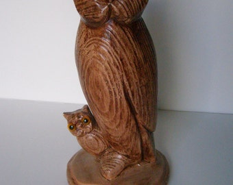 Owl Statue Tall Vintage Mother and Baby Owl