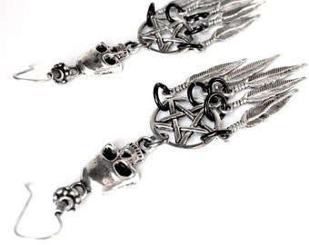 Skull and Pentacle Earrings, Dreamcatcher Earrings, Pentagram and Silver Skull Earrings, Skull Feather Witchy Earrings