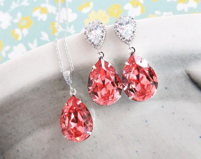Sandra- Rose Peach Pink Swarovski Crystal Teardrop Cubic Zirconia Teardrop Earrings Necklace Set, Bridesmaid Bridal Jewelry Wedding