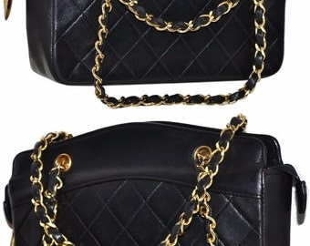"CHANEL Paris Quilted Lambskin Leather Top 8.5"" Inch Handbag With Gold Chain Made In France Shoulder Bag"