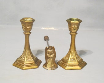 Vintage 2 Brass Candle Holders & Brass Angel Candle Snuffer Set / Pair of Ornate Candlesticks, Hexagon Candle Stick Rustic Home Mantle Decor