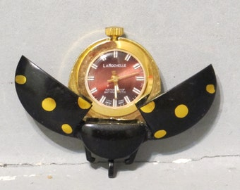 Vintage Ladybug Watch Pendant For Repair or Parts / Black and Gold Lady Bug Wind up Swiss Movement Steampunk Altered Art Recycle Upcycle