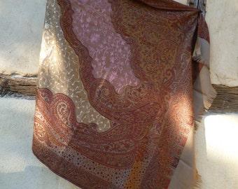 """Beautiful pink/fawn Kani design reversible soft wool shawl/stole. Pashmina.  84 x 40"""". Kashmir."""