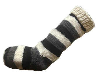 Hand Knit Christmas Stocking Stripes of Black, Gray, and White Striped Wool Santa Sock