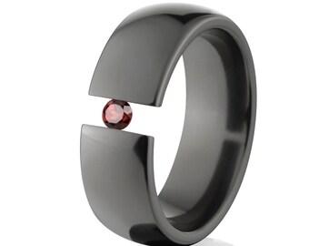 Uniquely You- Black Zirconium-Tension Set- Garnet-  BZ-8HR-P-Tension