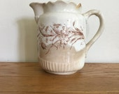 Antique Brown Transferware Pitcher