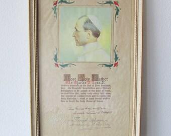 Vintage 1950 Pope Pius XII/ Joseph Migone Framed Papal Apostolic Benediction Religious Catholic Certificate