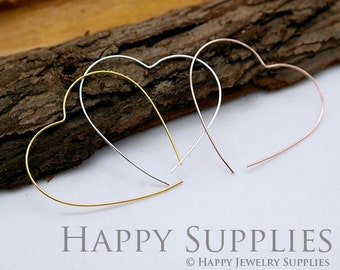 20pcs Nickel Free - Hight Quality 43mm Heart Rose Gold / Silver/ Golden Plated Brass Hoop Earrings (HE158)